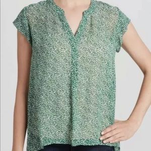 Joie Farhana Silk Split Neck Sheer Blouse Medium